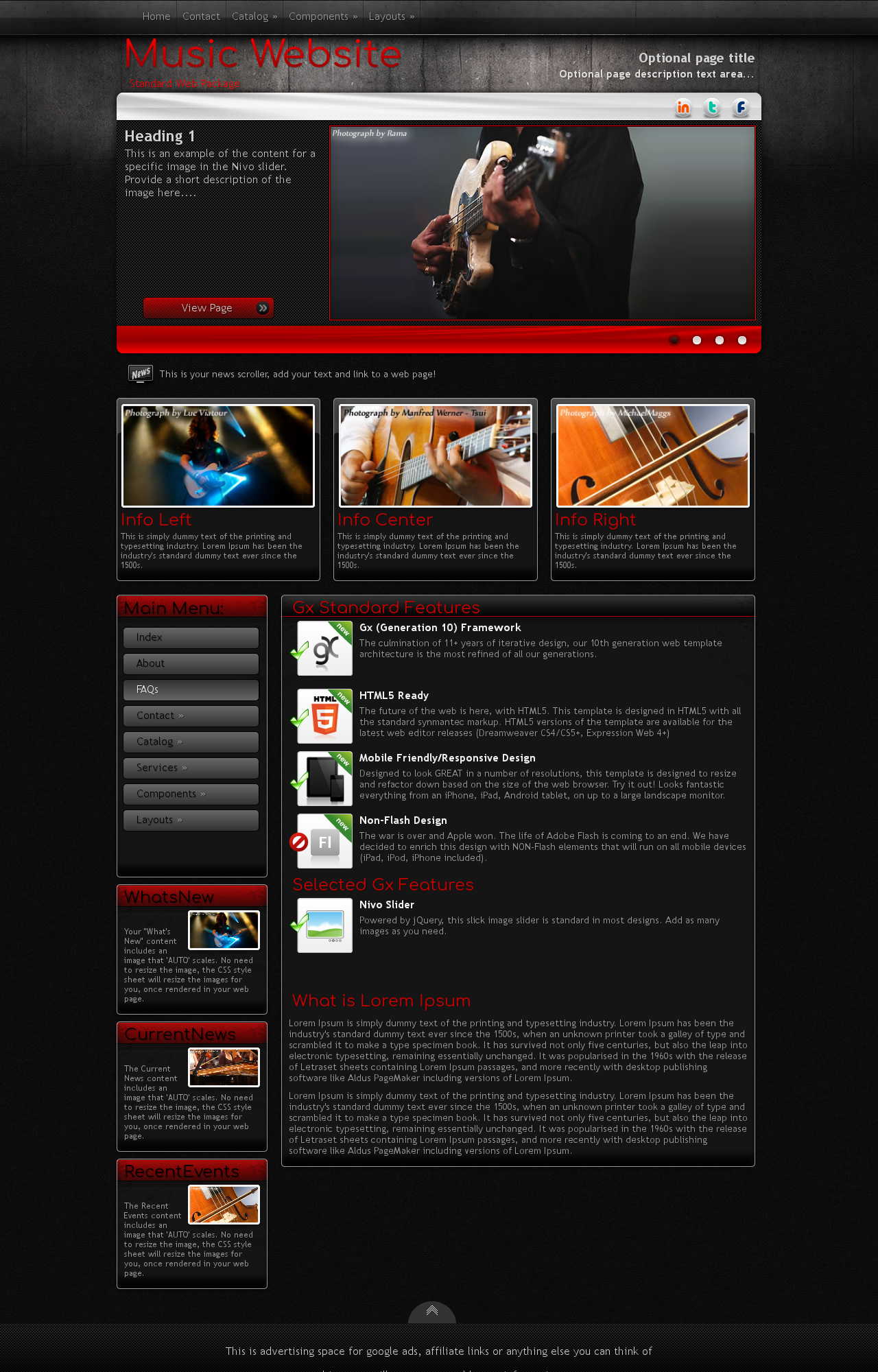 Foundation Music RedBlack Music Web Template - Music website templates