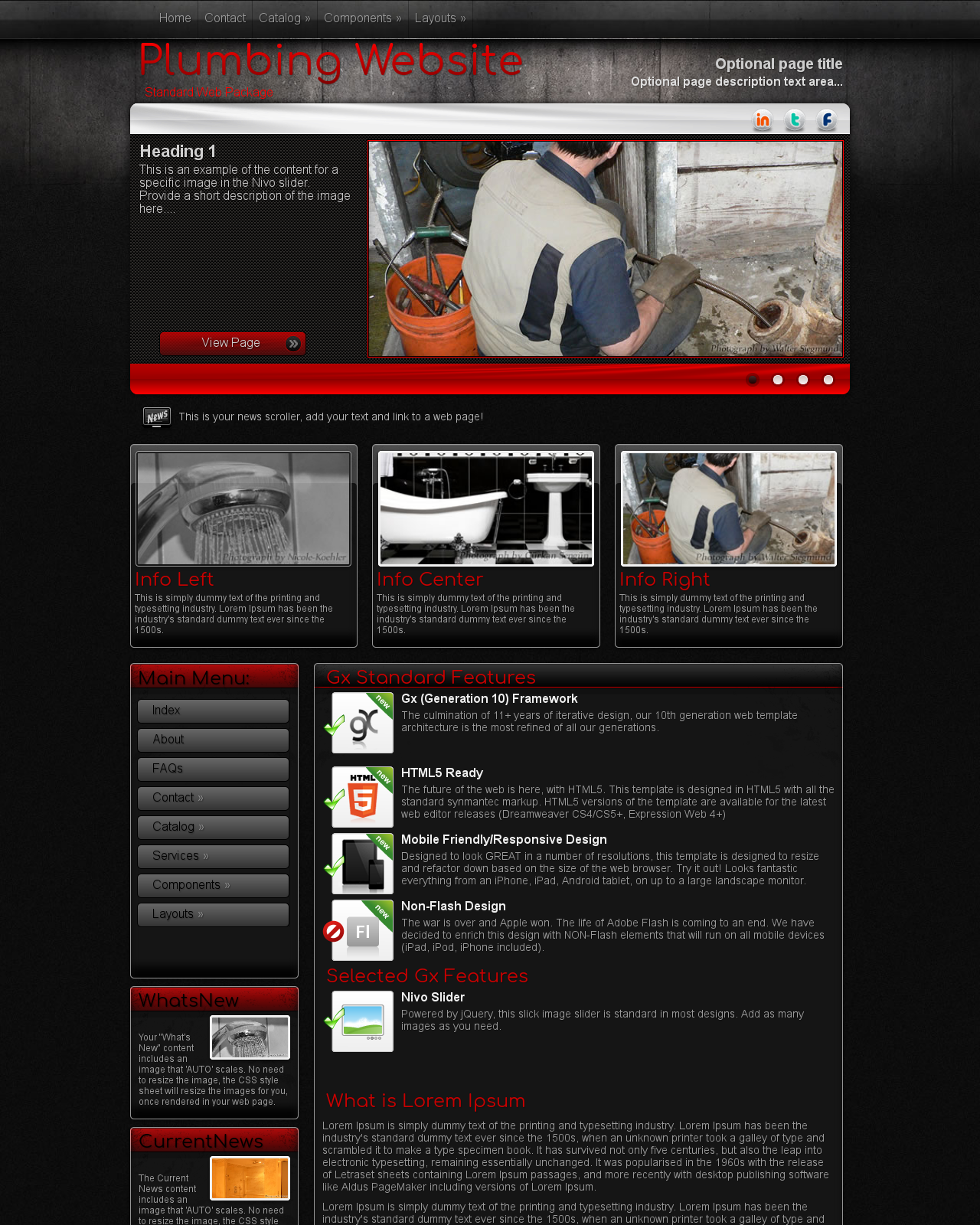 Tablet: Plumbing Wordpress Theme