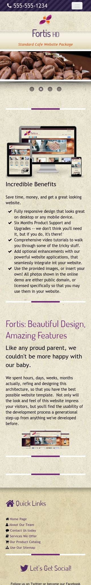 Mobile: Cafe Dreamweaver Template