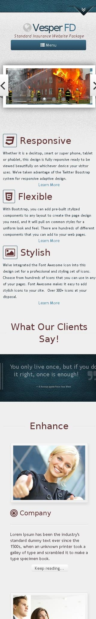 Mobile: Insurance Web Template