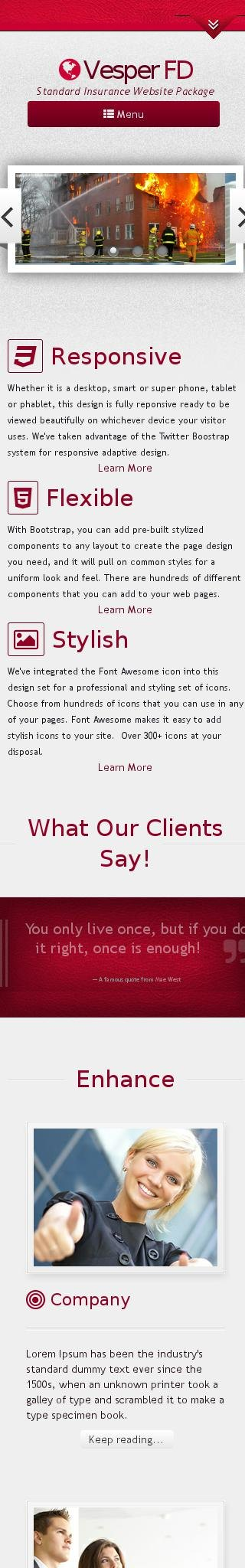 Mobile: Insurance Wordpress Theme