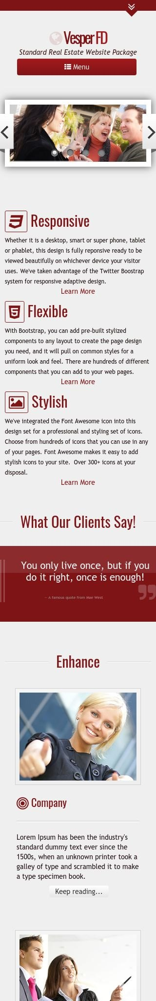 Mobile: Real-estate Wordpress Theme