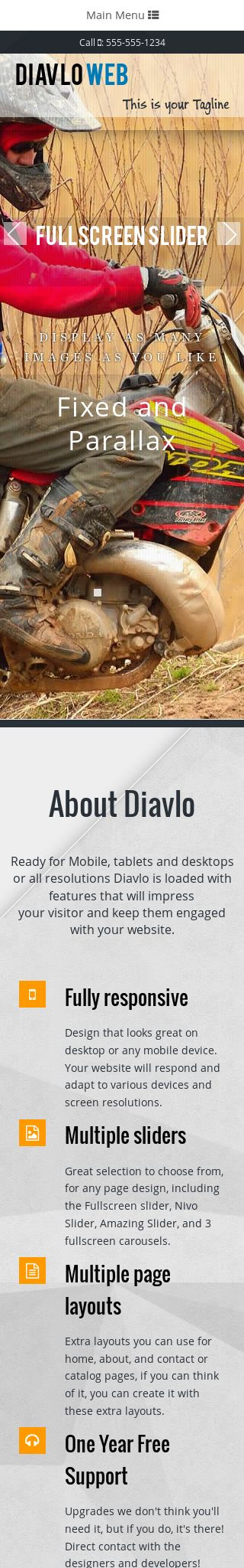 Mobile: Motocross Web Template