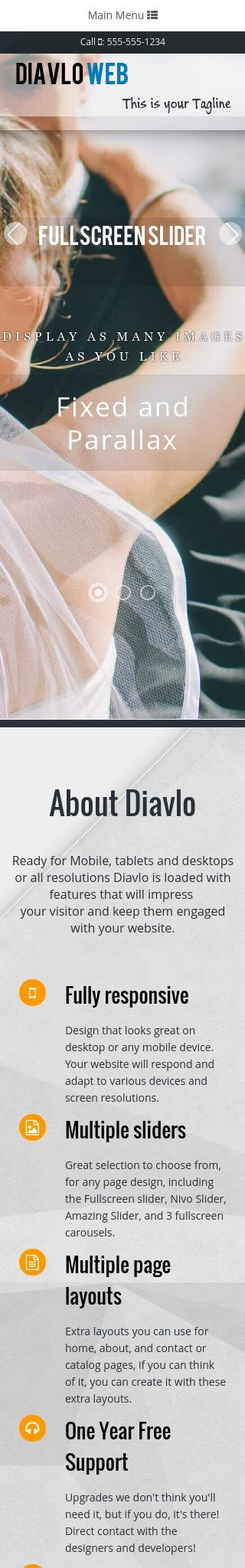 Mobile: Wedding Web Template