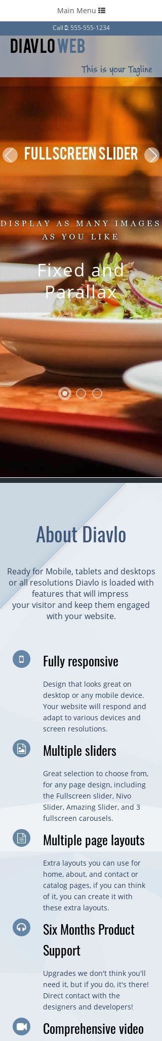 Mobile: Restaurant Web Template
