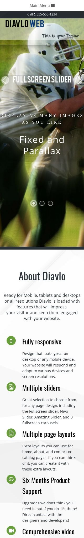 Mobile: Football Dreamweaver Template