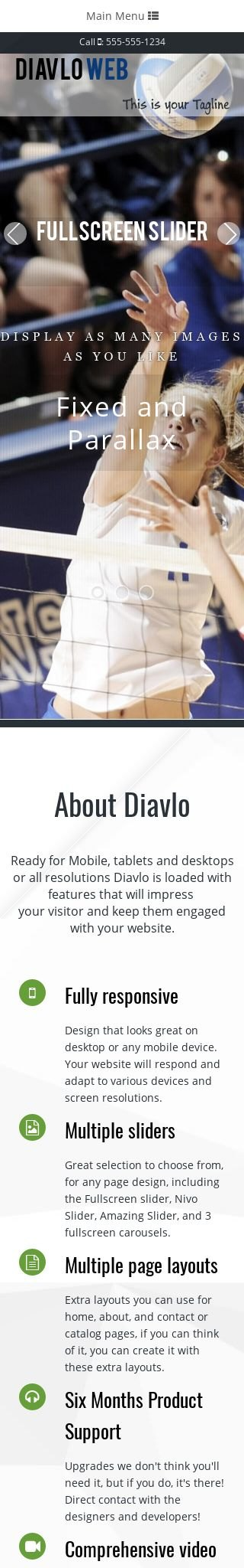 Mobile: Volleyball Web Template