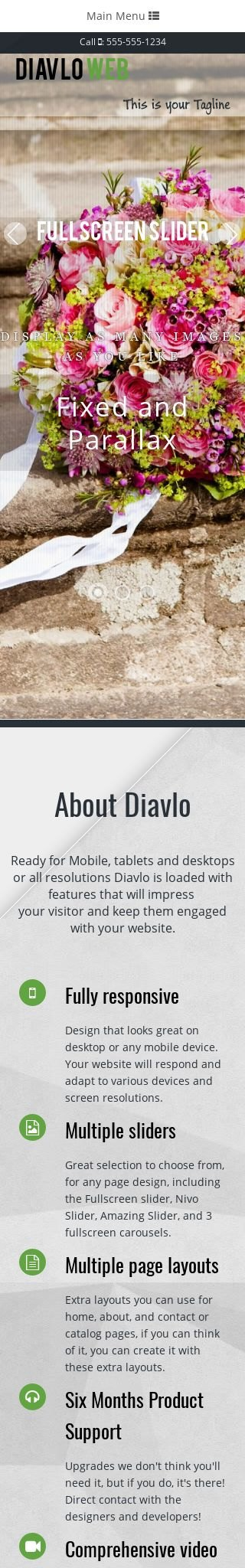 Mobile: Floral Web Template