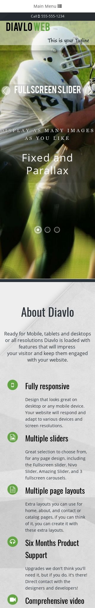 Mobile: Football Web Template