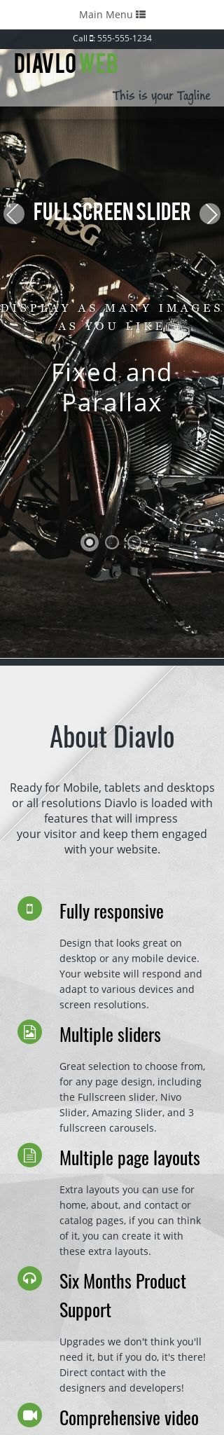 Mobile: Motorcycle Dreamweaver Template