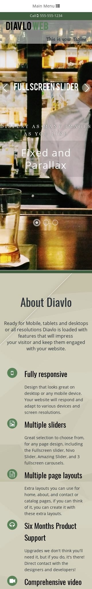 Mobile: Night-club Web Template