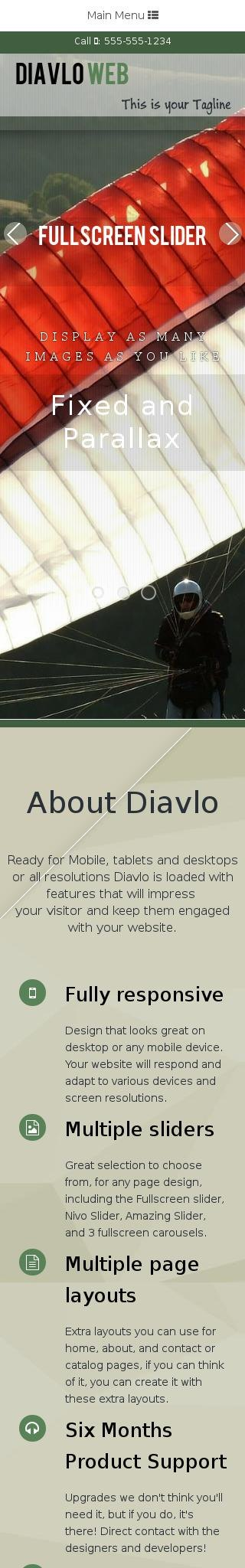 Mobile: Sky-diving Web Template