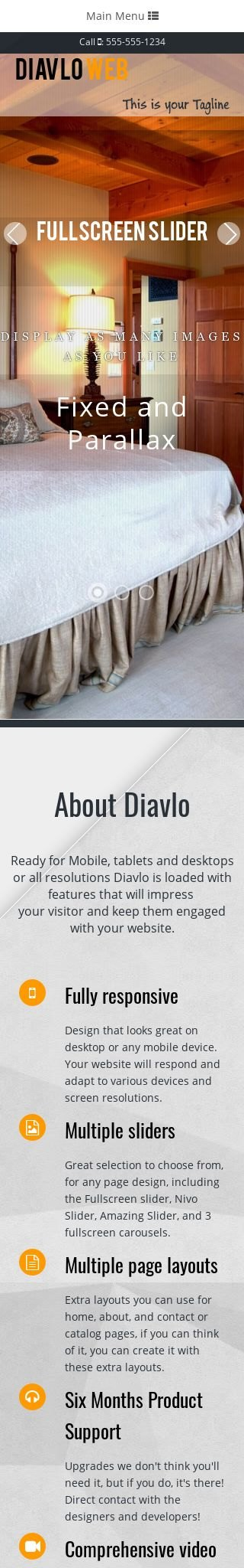 Mobile: Bed-and-breakfast Web Template