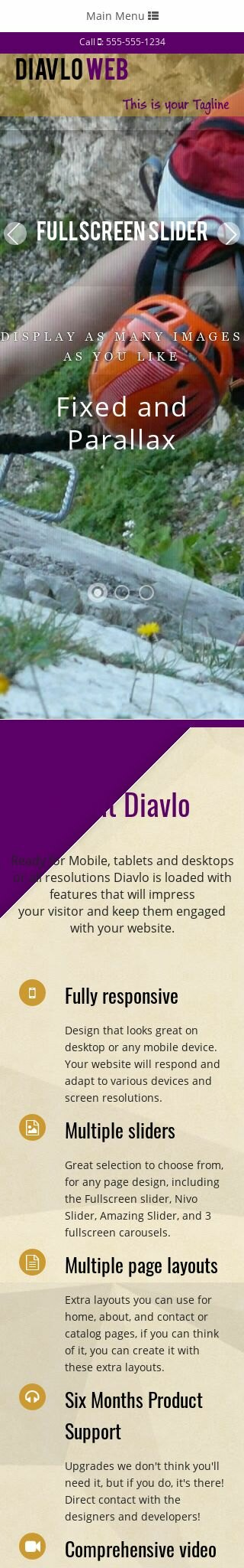Mobile: Mountain-climbing Dreamweaver Template