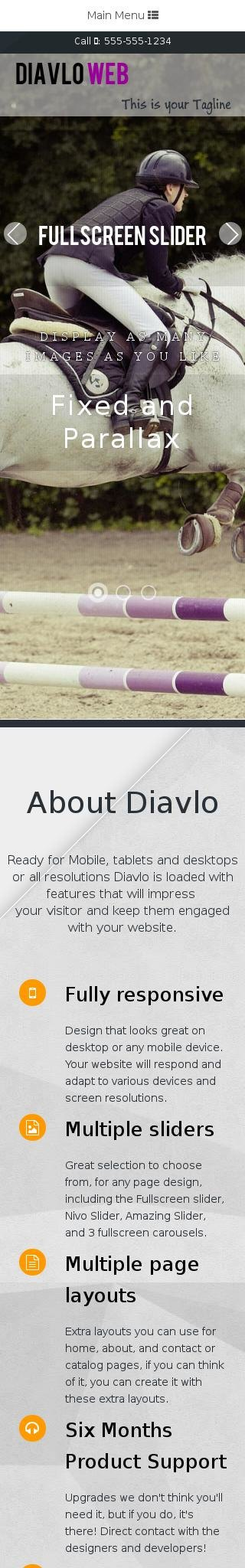 Mobile: Equestrian Web Template