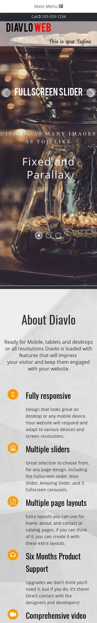 Mobile: Cafe Web Template