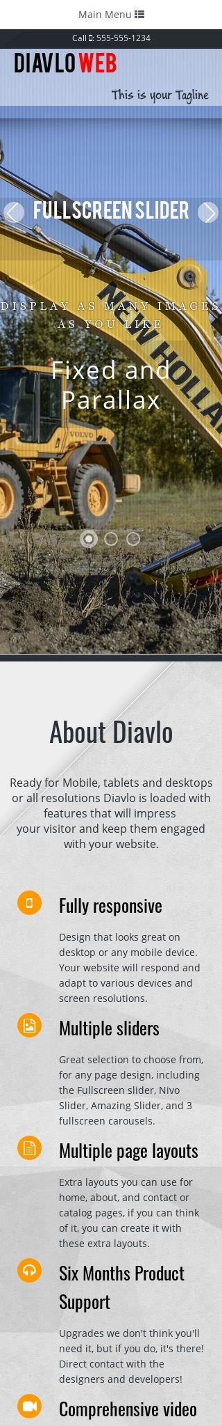 Mobile: Heavy-machines Web Template