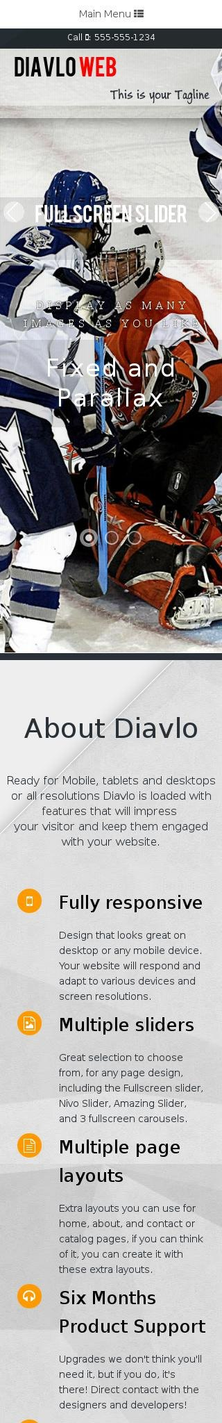 Mobile: Hockey Web Template