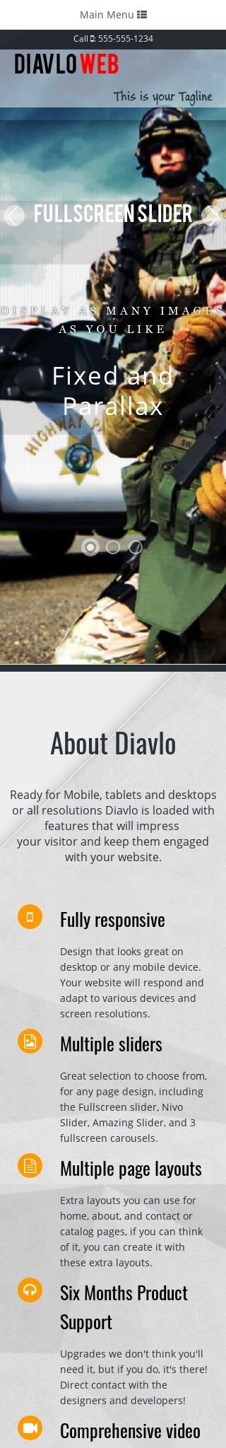 Mobile: Law-enforcement Web Template