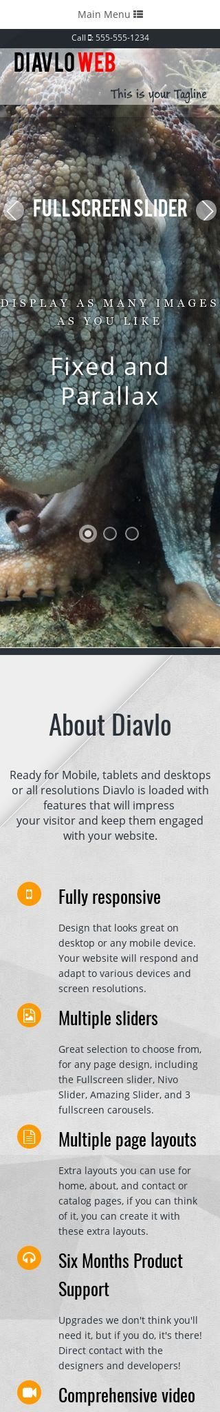 Mobile: Scuba-diving Web Template