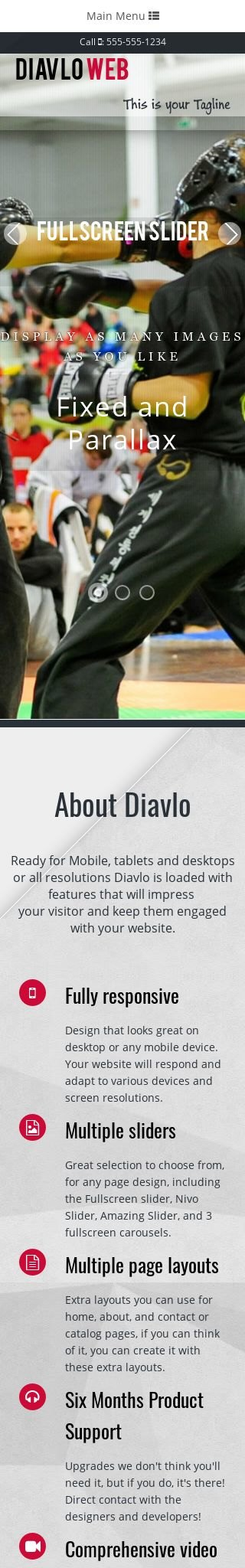 Mobile: Martial-arts Web Template
