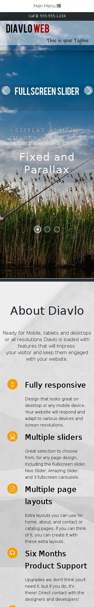 Mobile: Fishing Dreamweaver Template