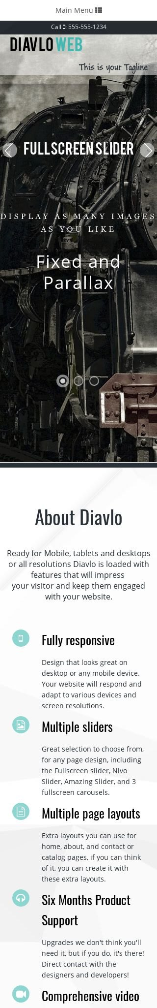 Mobile: Trains Web Template