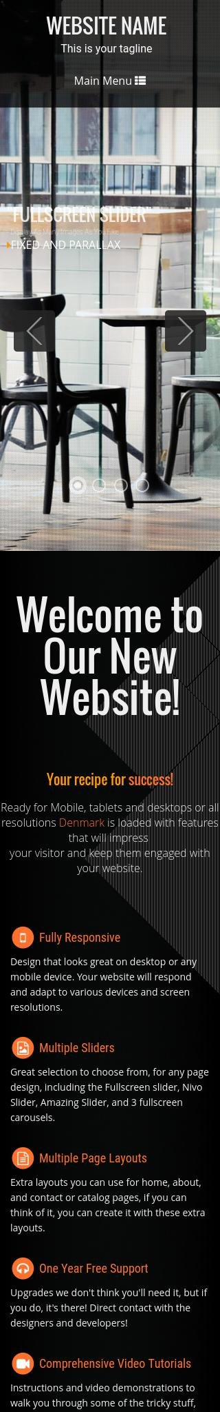 Mobile: Cafe Wordpress Theme