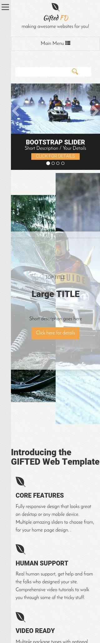 Mobile: Snowmobile Web Template