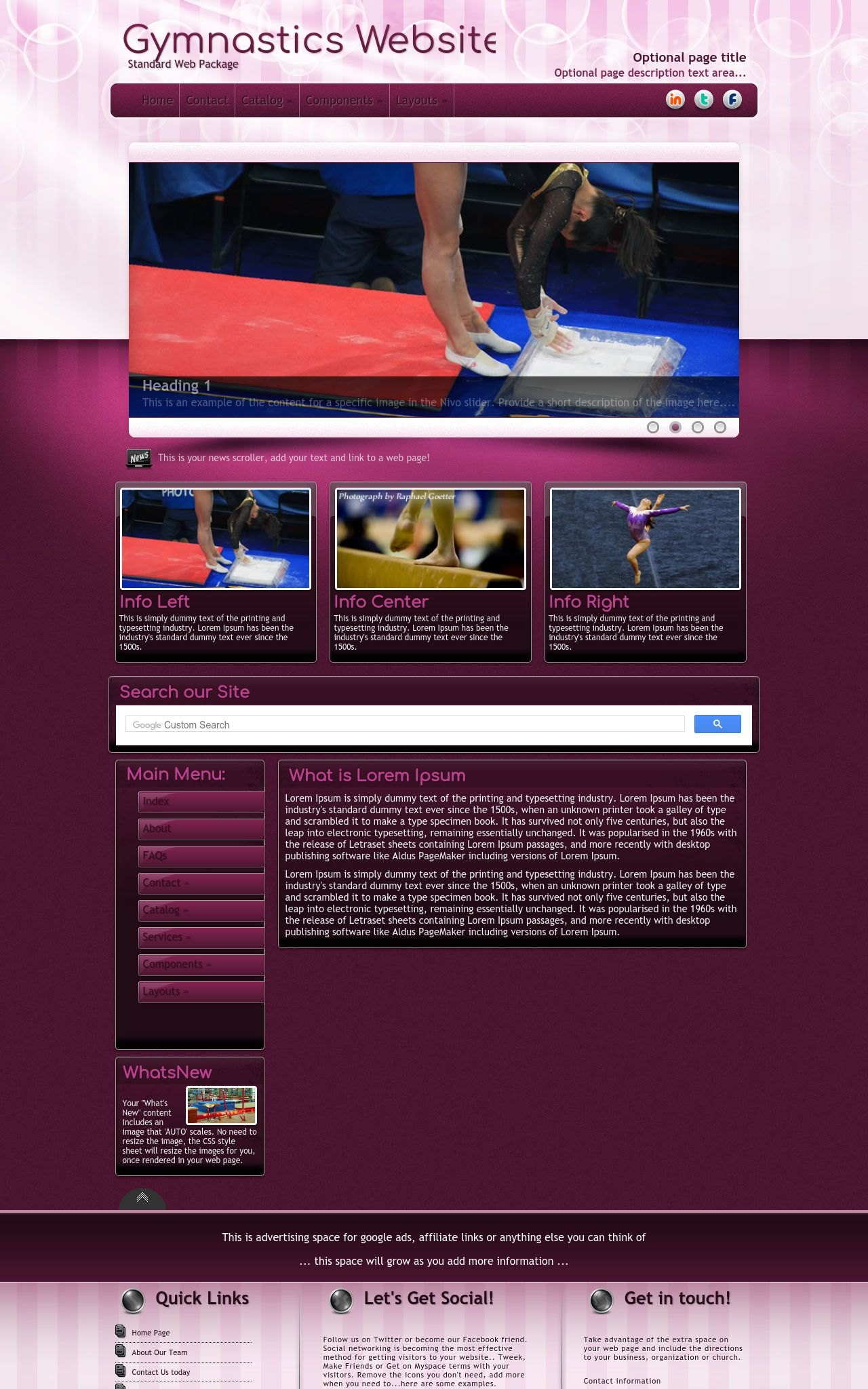 Transition gymnastics plum gymnastics dreamweaver template for Dreamweaver newsletter templates