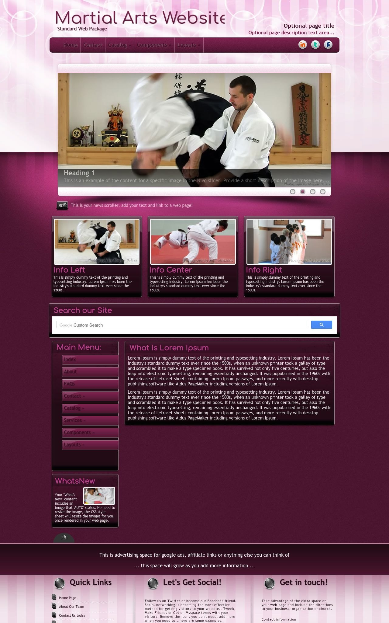 martial arts website templates