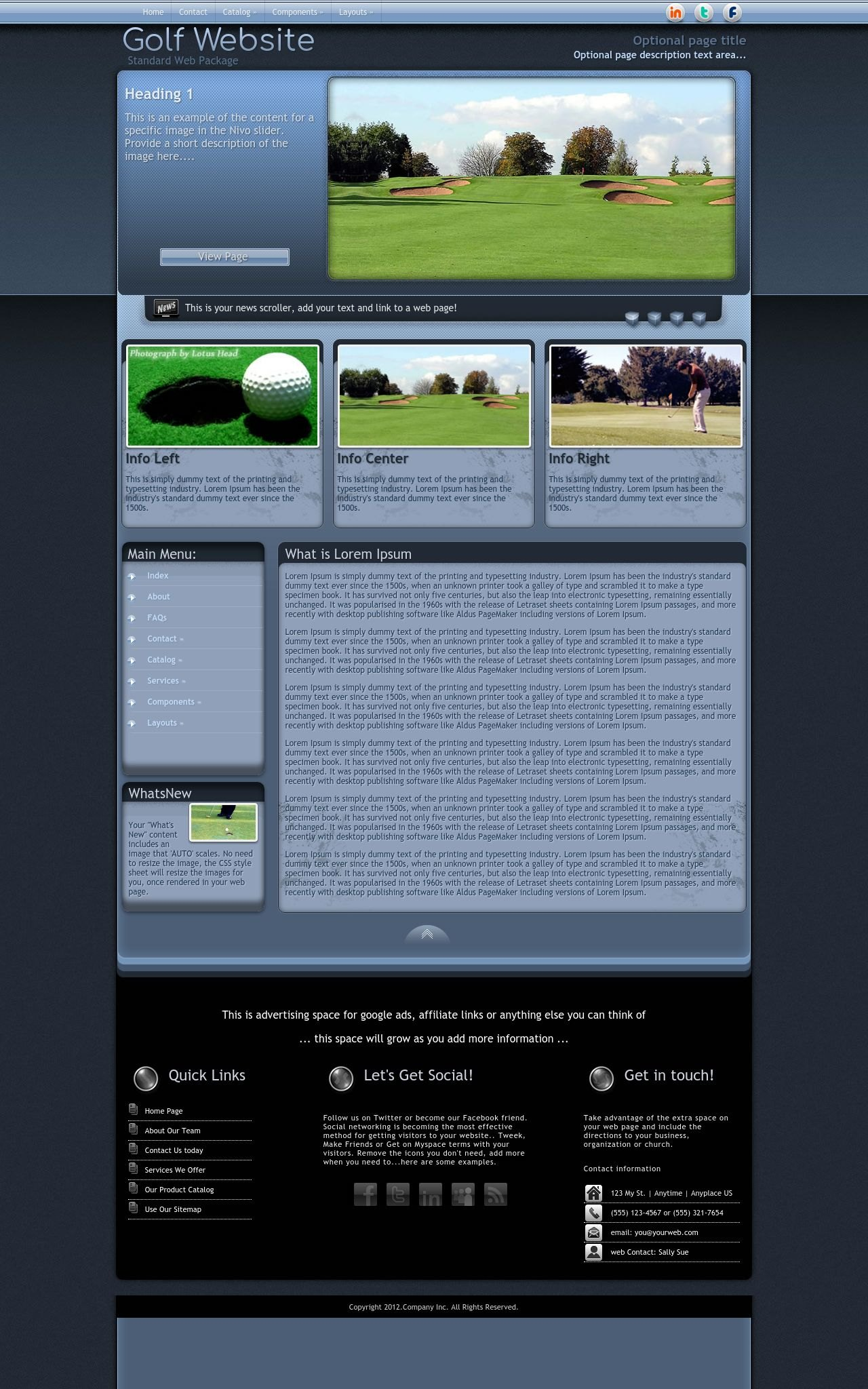 free professional dreamweaver templates - accolade golf blue golf dreamweaver template