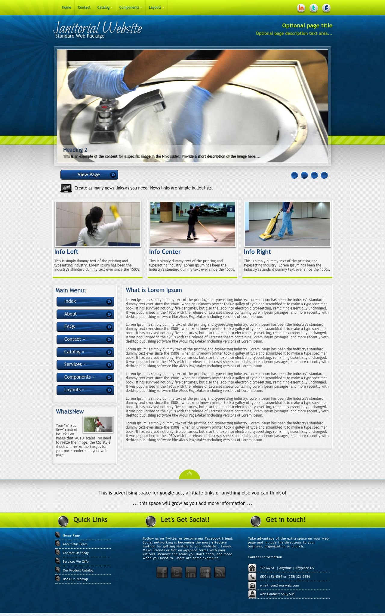 infusion janitorial blue green janitorial web template