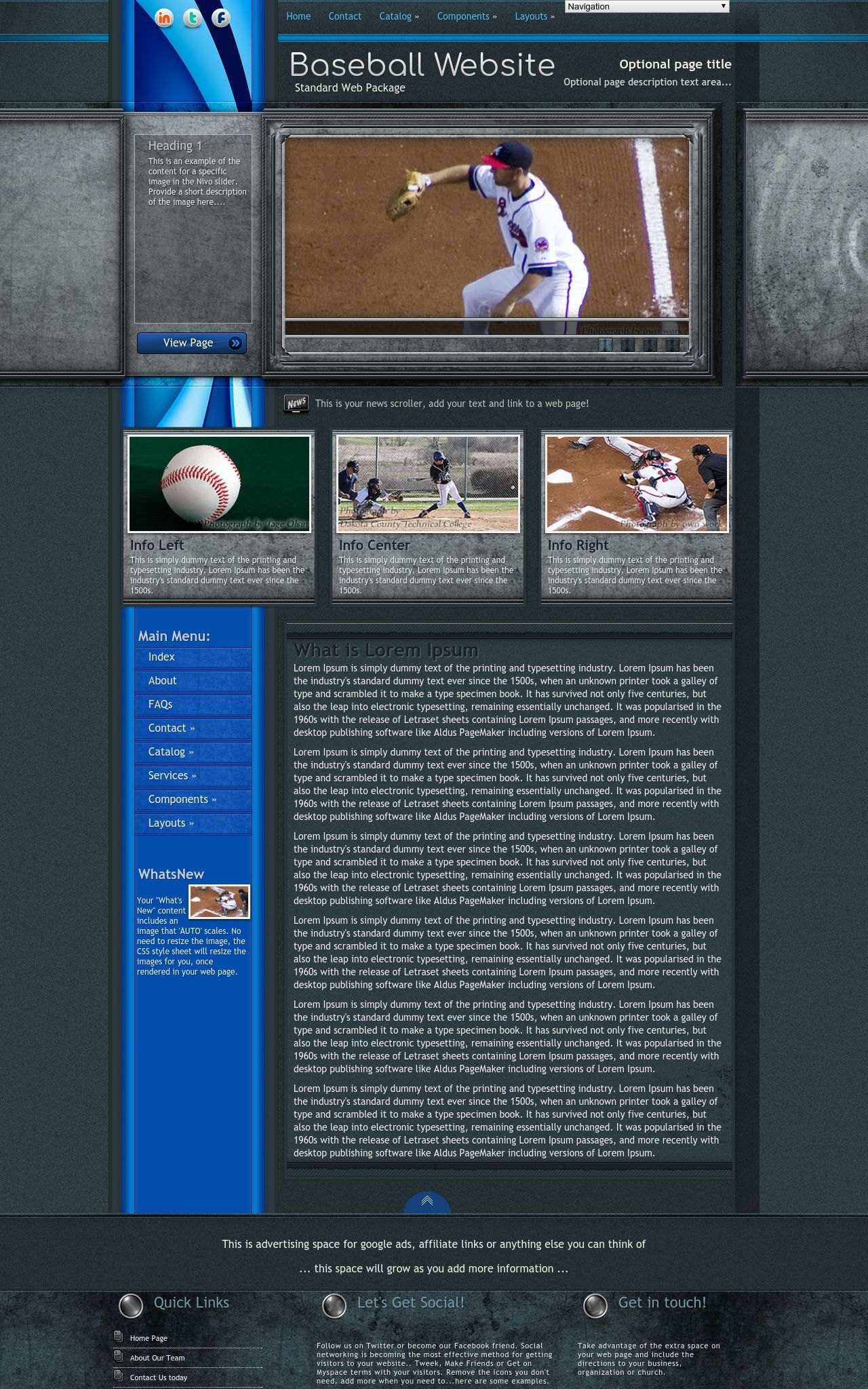 Baseball Web Templates