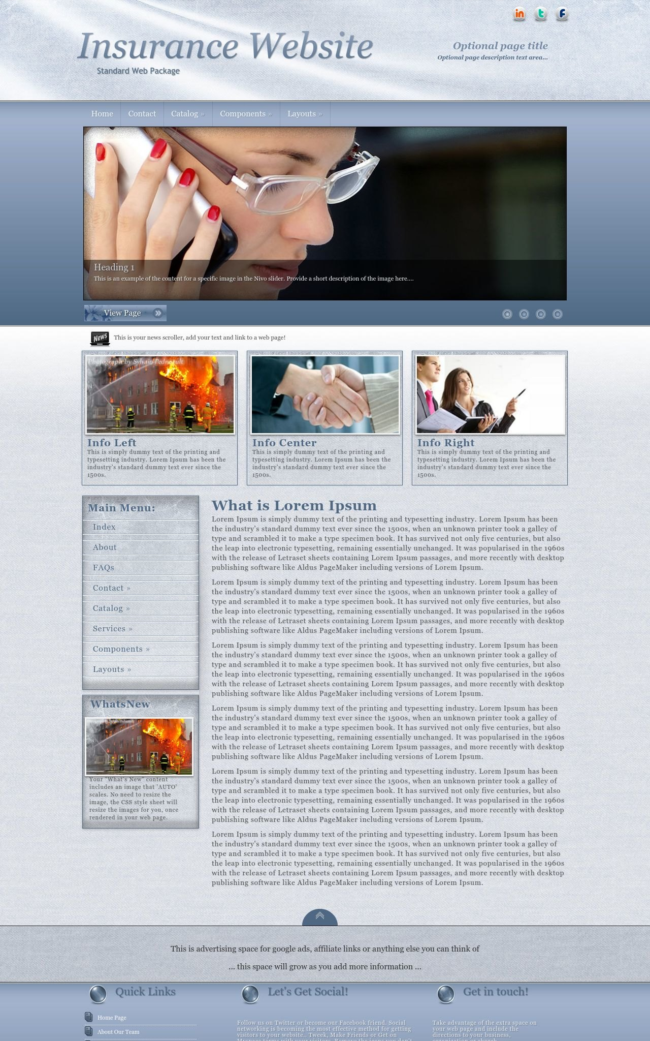 dreamweaver newsletter templates - accent insurance blue white insurance dreamweaver template