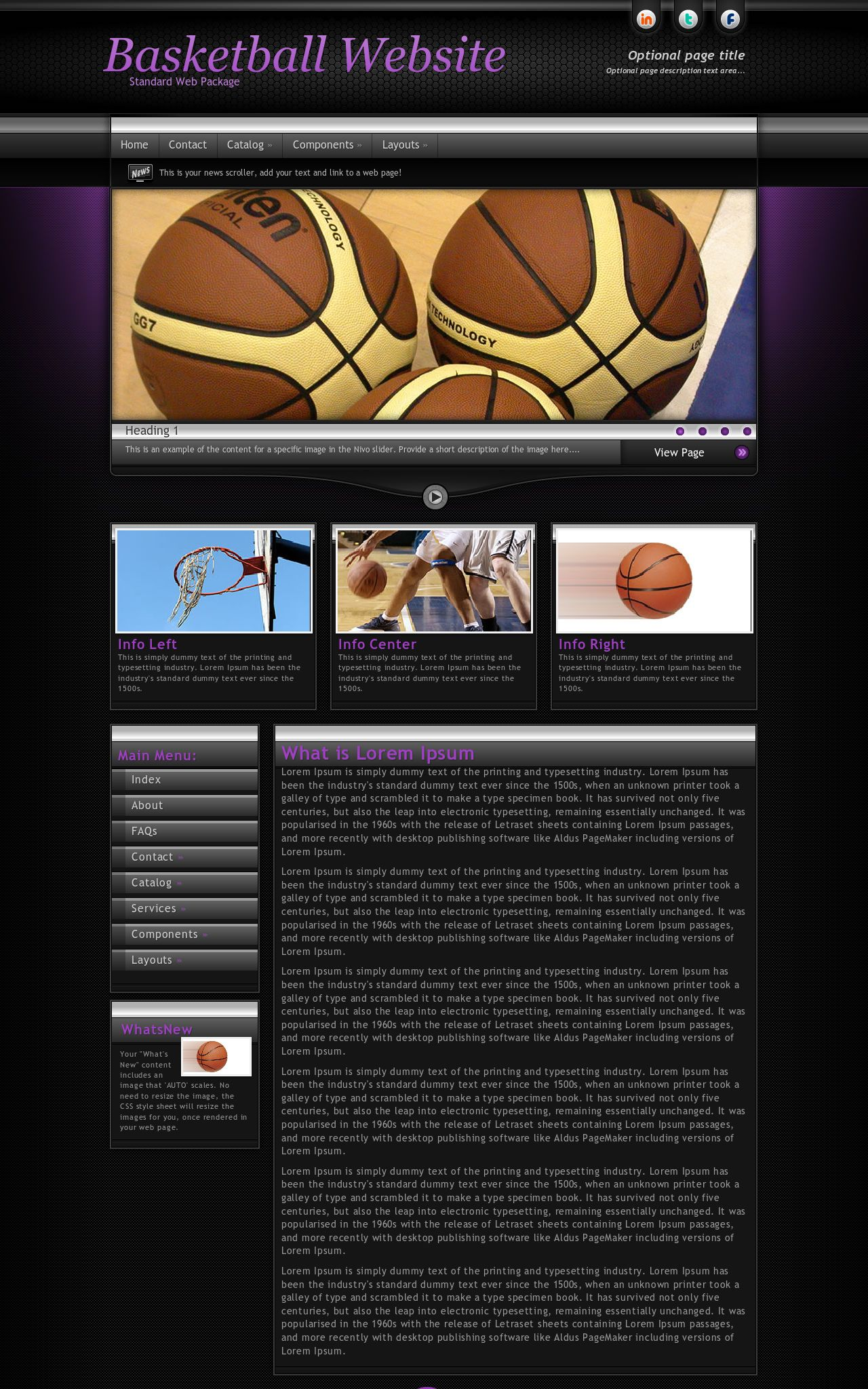 Desktop: Basketball Web Template