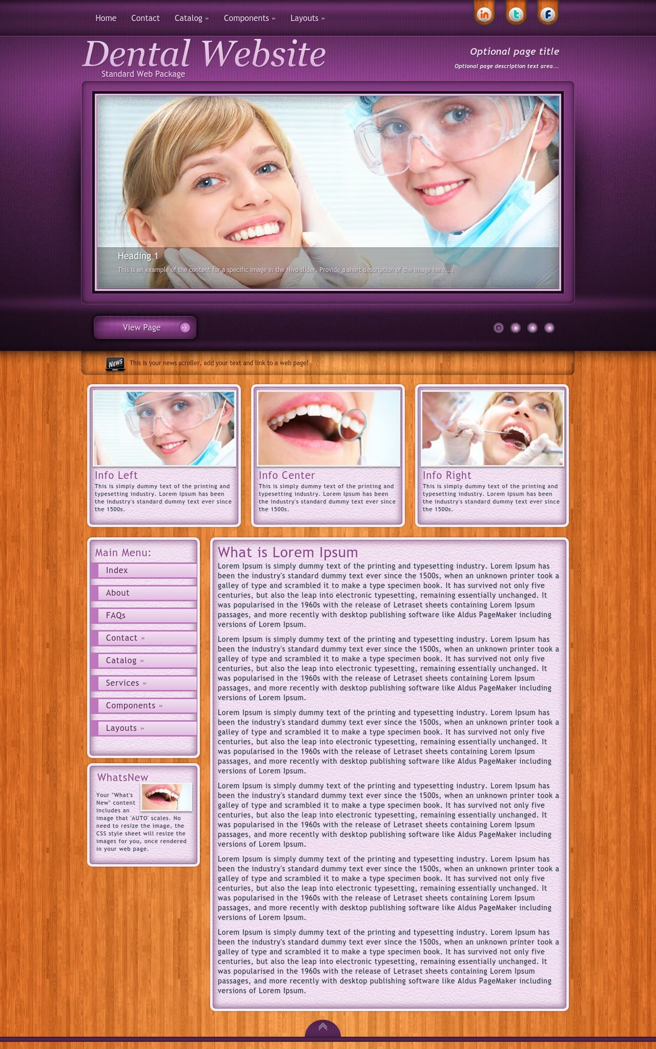 Immersion Dental Purple Tan Dental Web Template