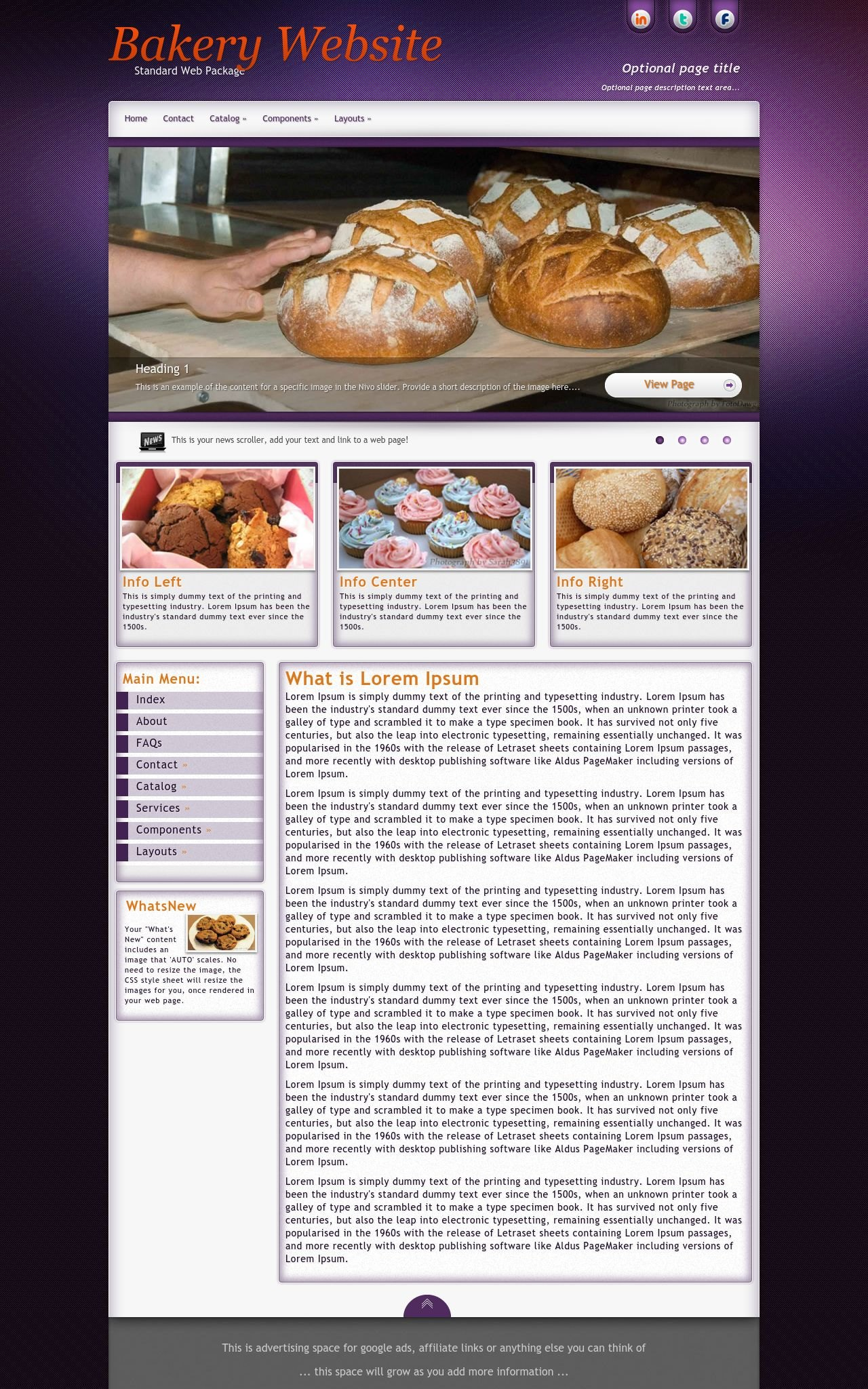 Desktop: Bakery Wordpress Theme
