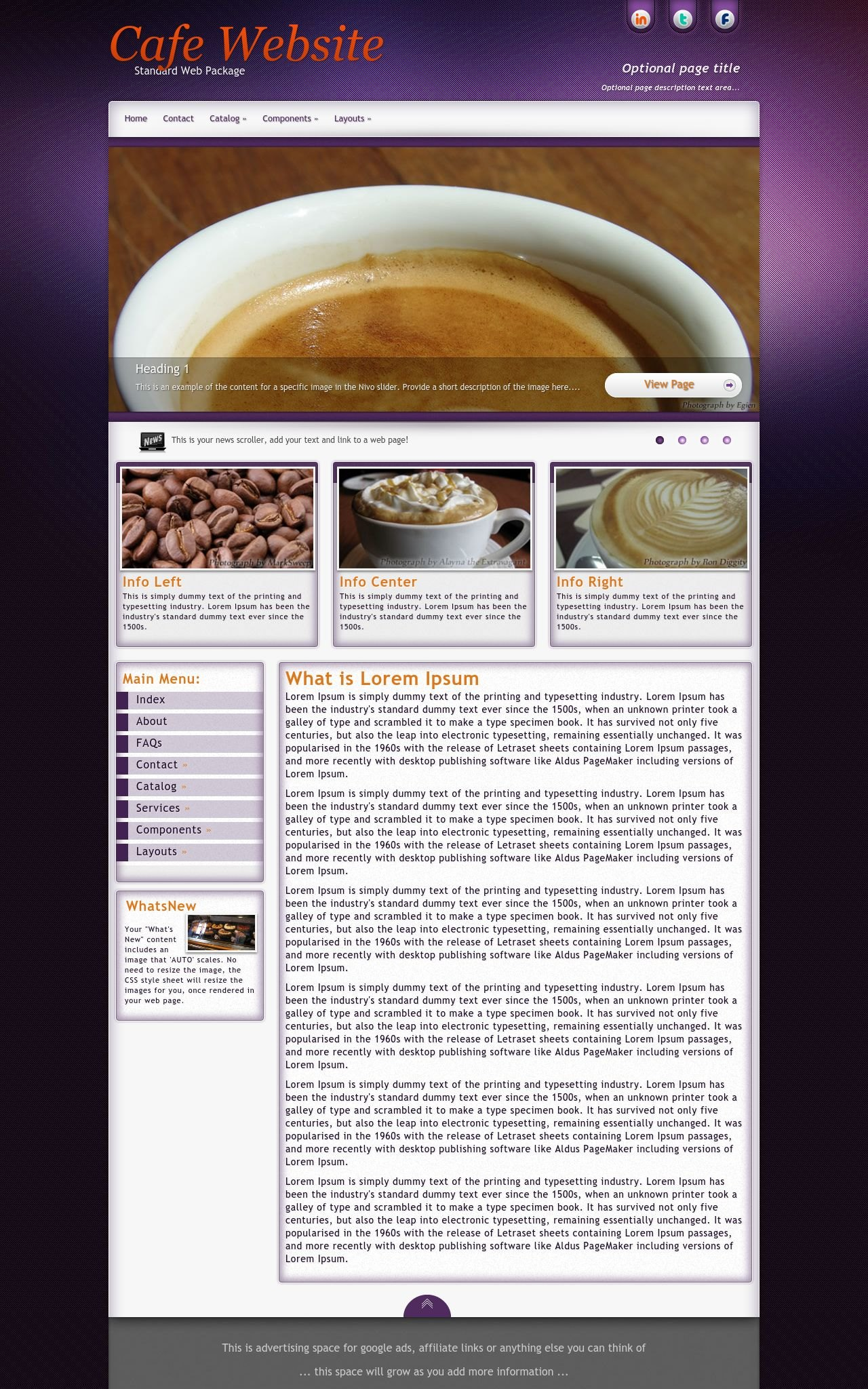 Desktop: Cafe Wordpress Theme