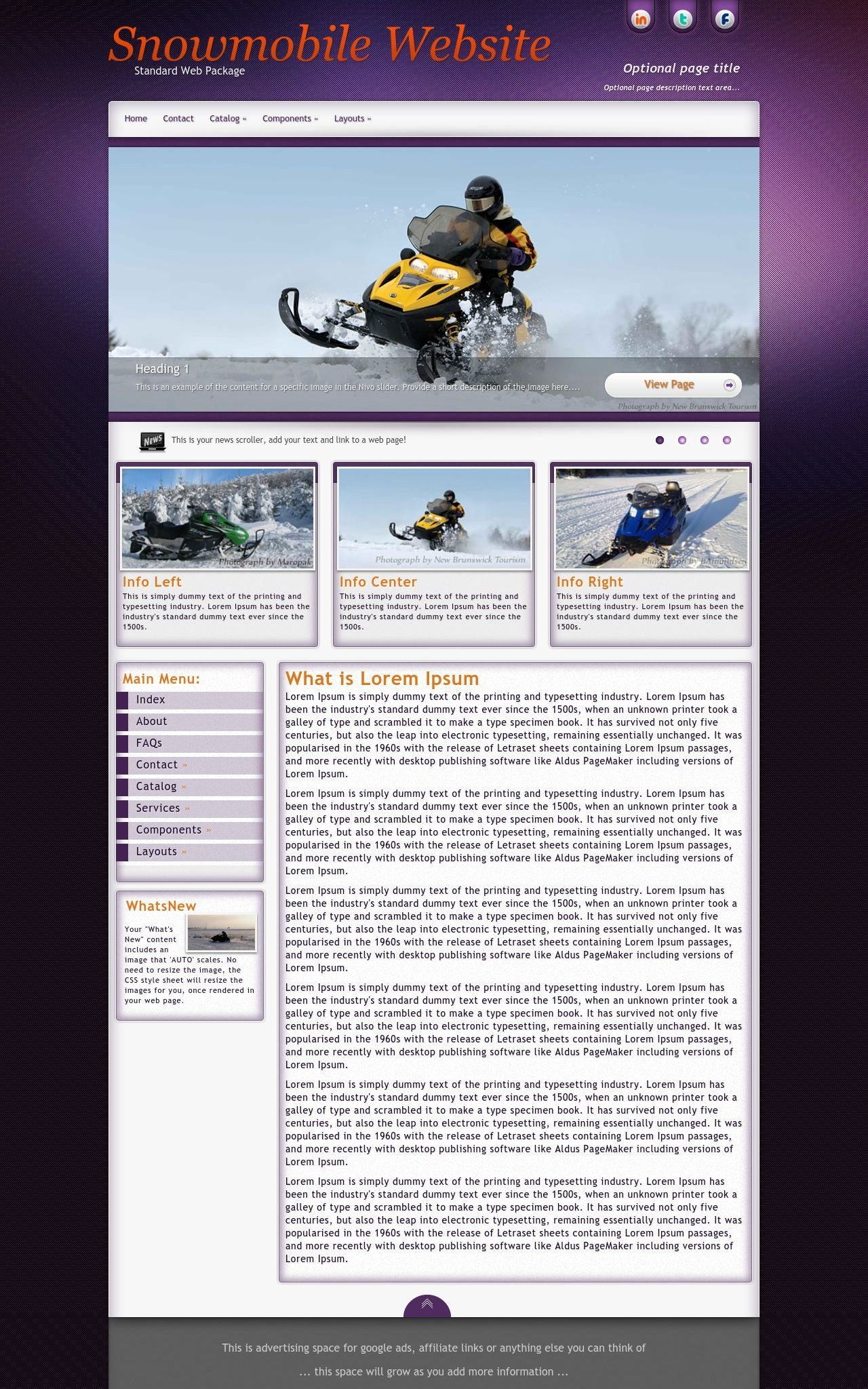 Acclaim snowmobile purple grey snowmobile dreamweaver for Dreamweaver newsletter templates