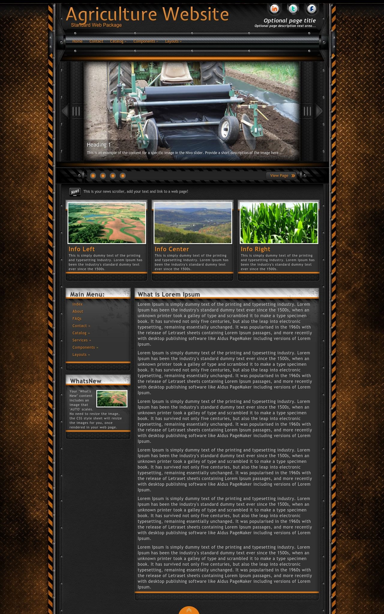 Tablet: Agriculture Web Template