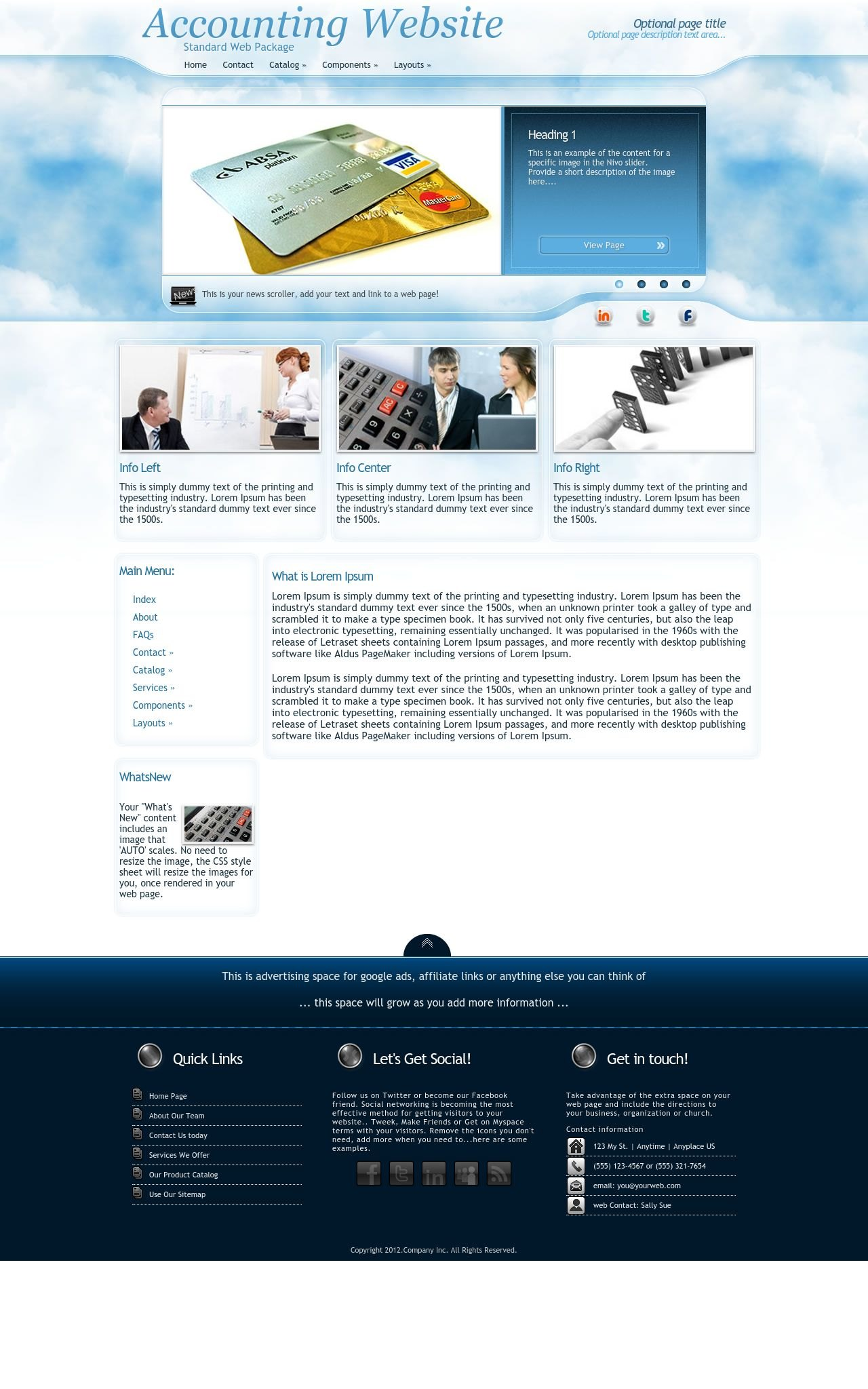 Ambiance Accounting Blue/White | Accounting Sharepoint Designer Template