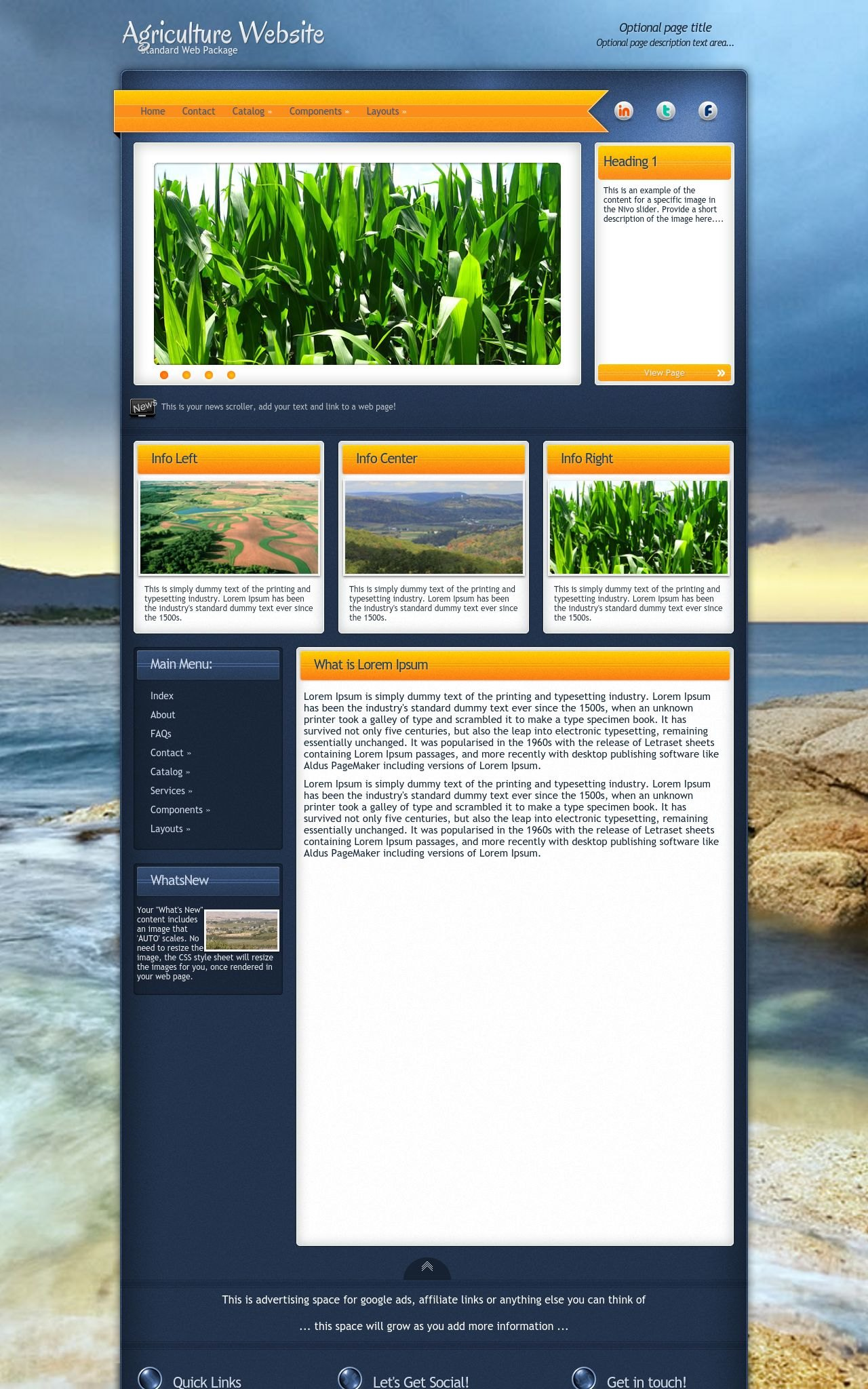 dreamweaver newsletter templates - aura agriculture blue orange agriculture dreamweaver
