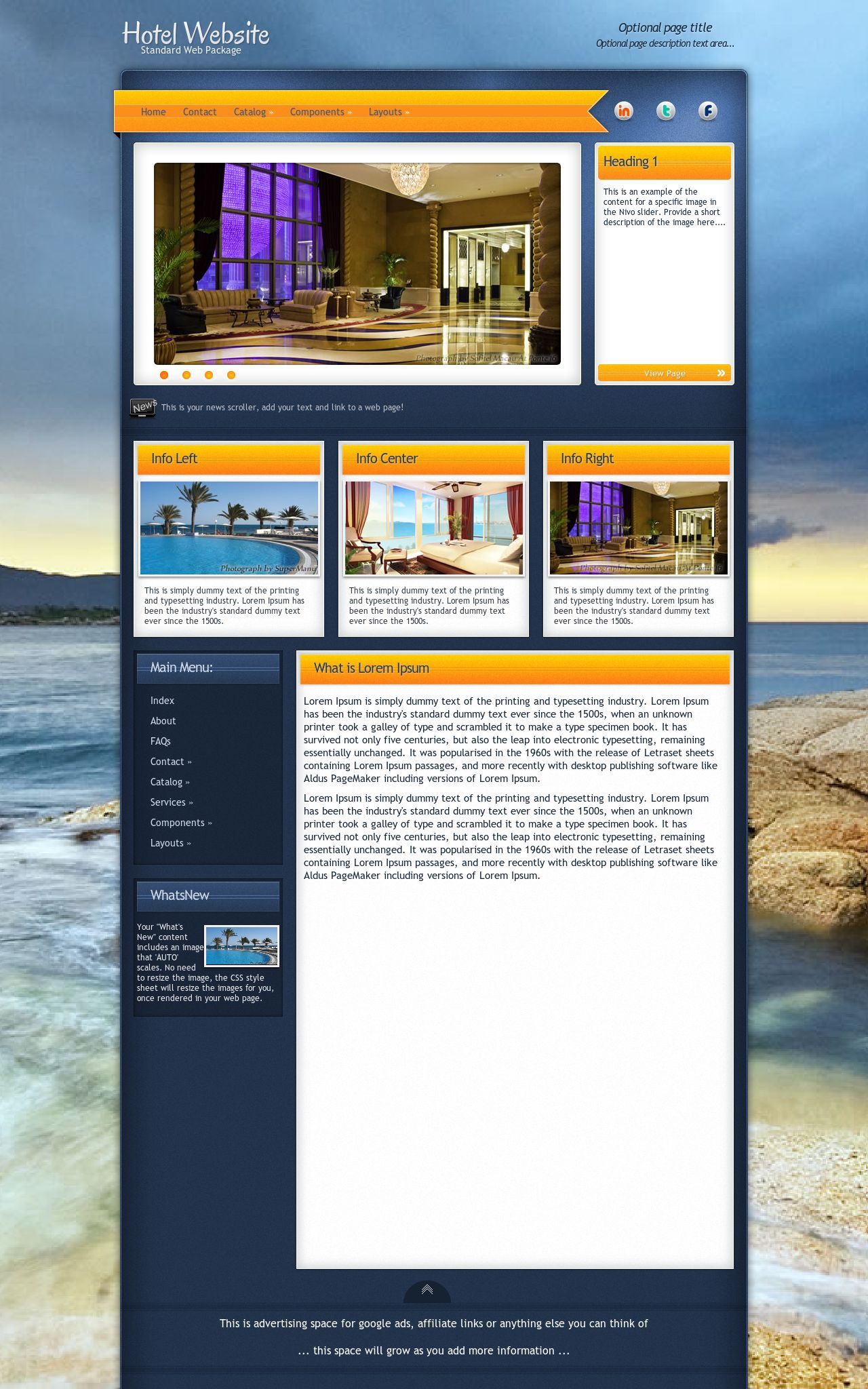 Tablet: Hotel Web Template