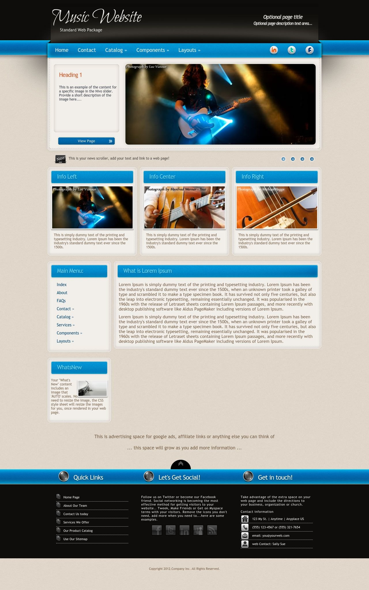 Promotion Music Blue/Tan | Music Dreamweaver Template