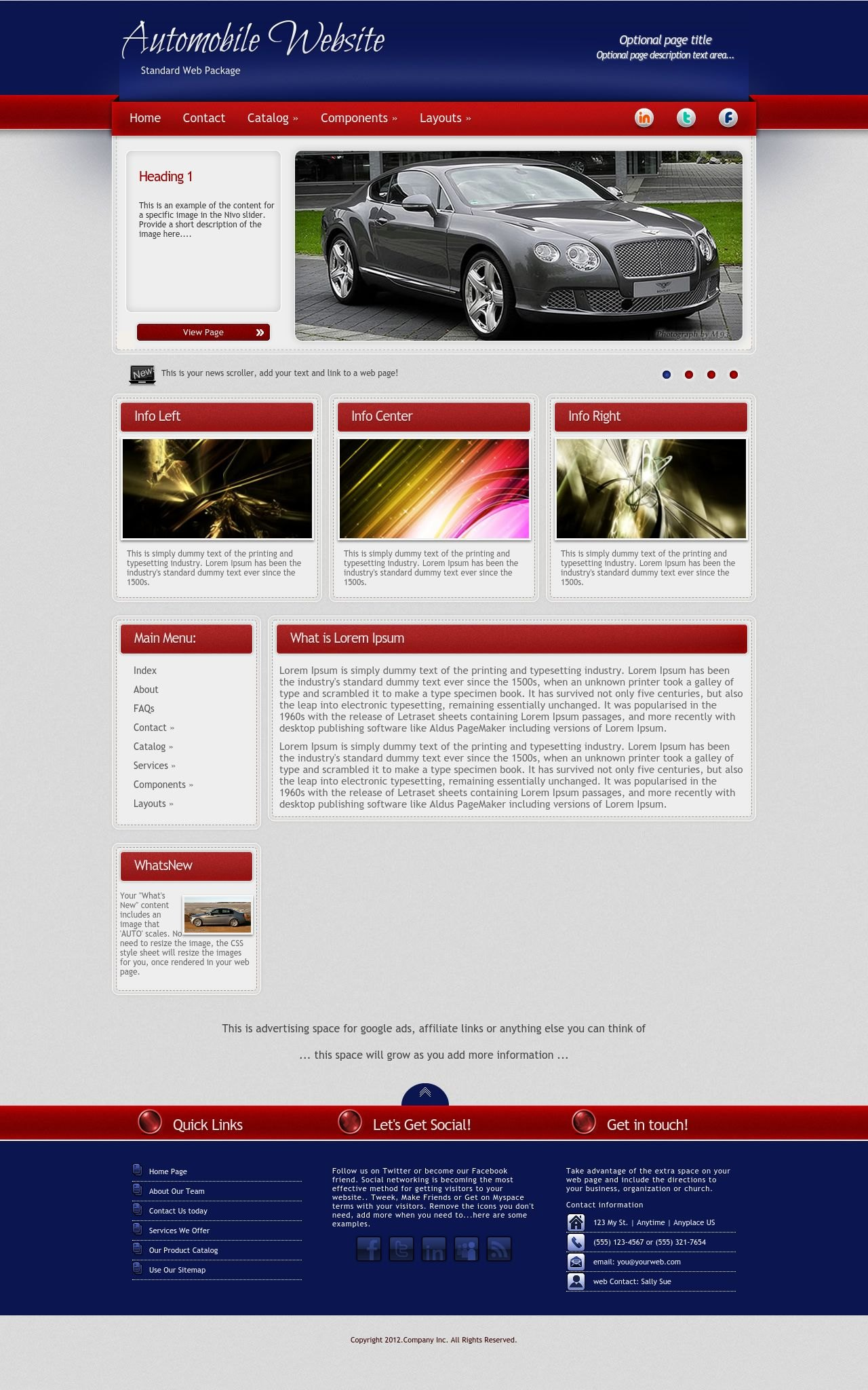 Tablet: Automobile Web Template