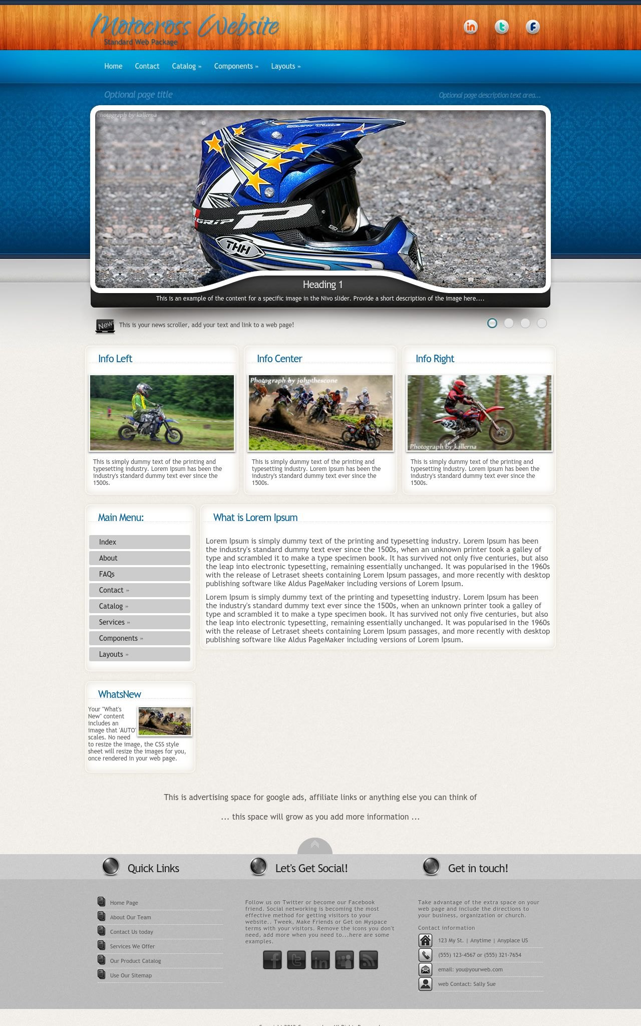 Uptown motocross blue grey motocross dreamweaver template for Dreamweaver newsletter templates