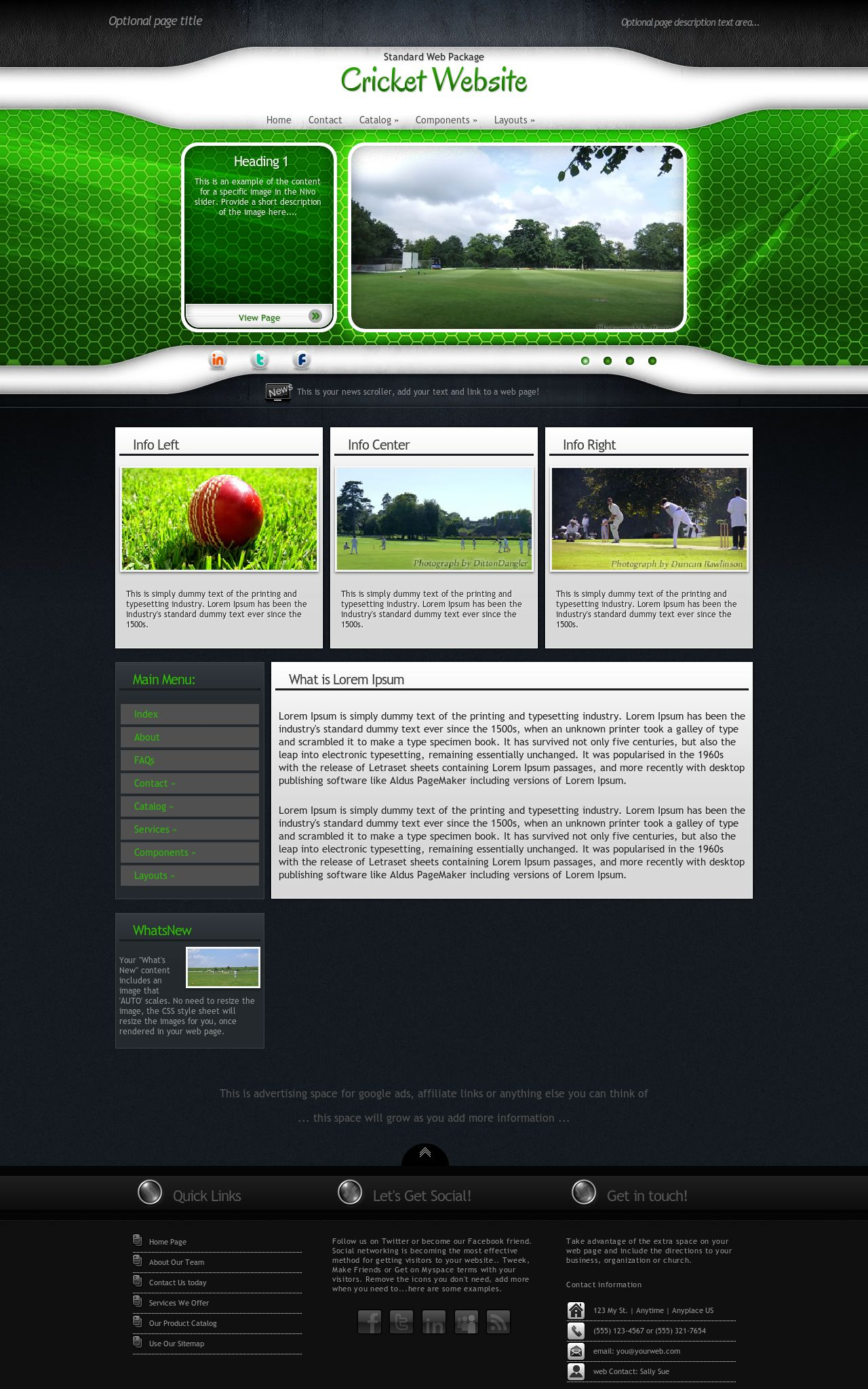 Cricket Web Templates