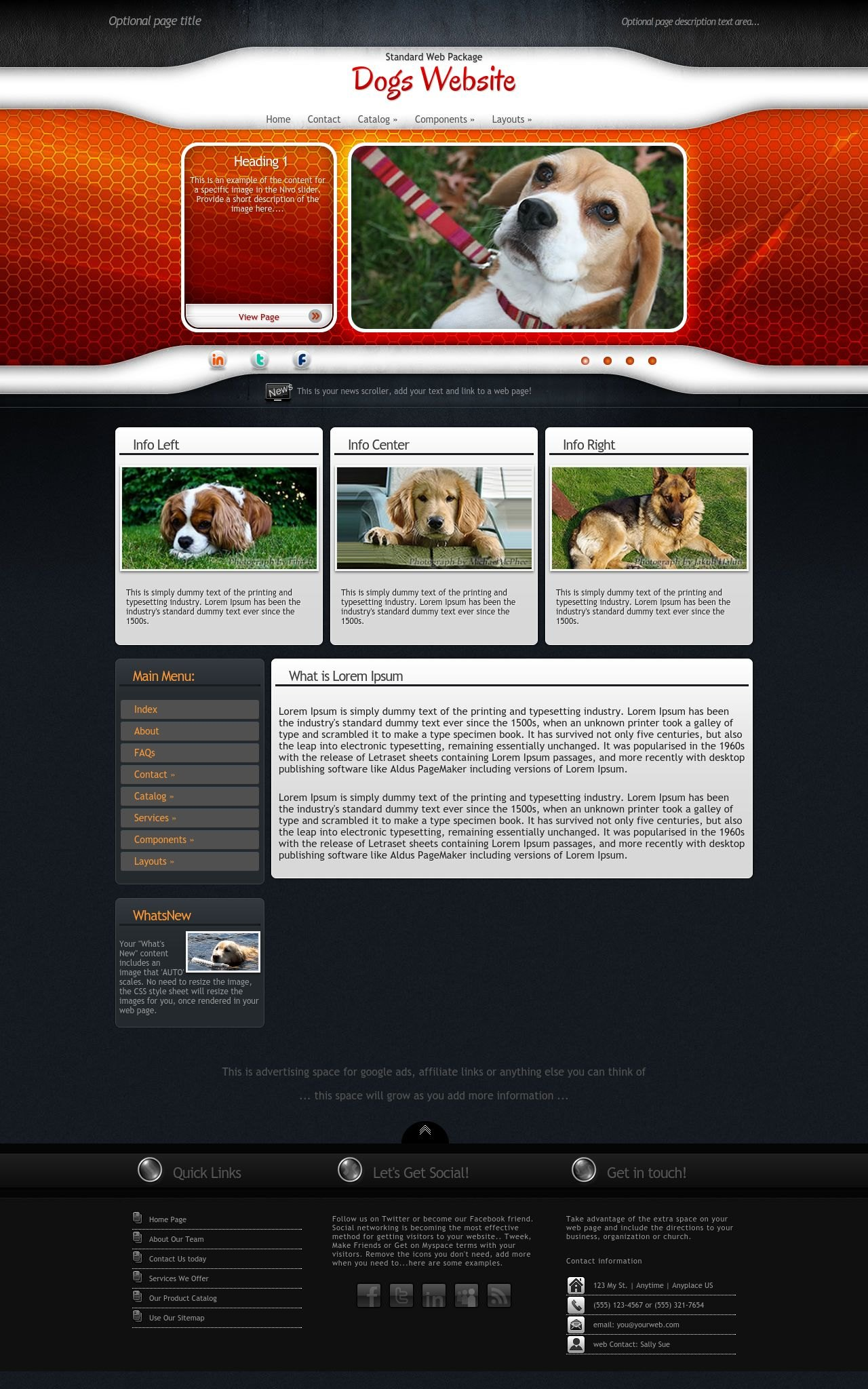 Honeycomb dogs orange black dogs dreamweaver template for Dreamweaver newsletter templates