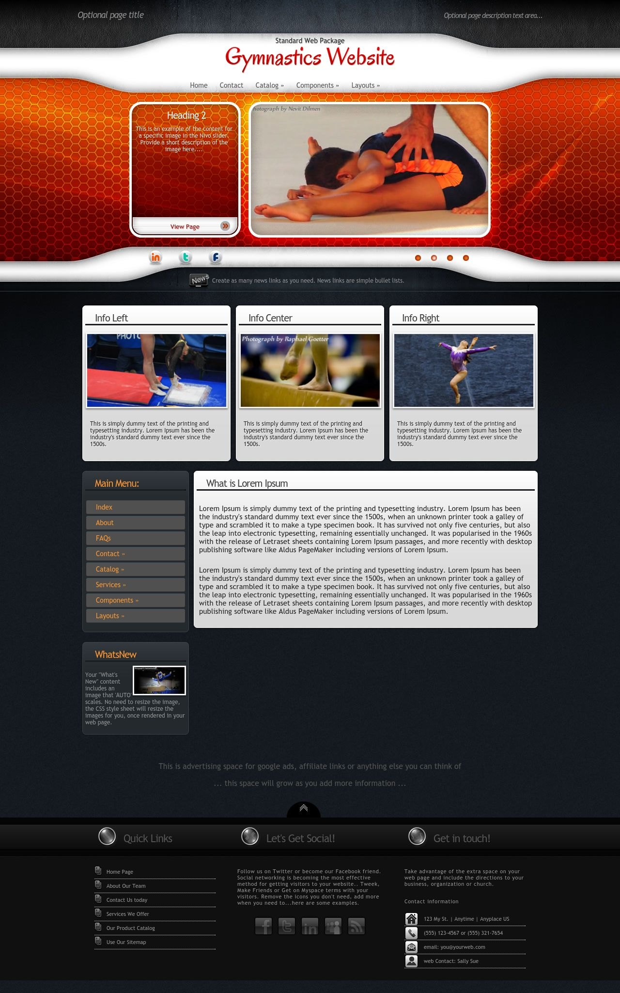 Tablet: Gymnastics Web Template
